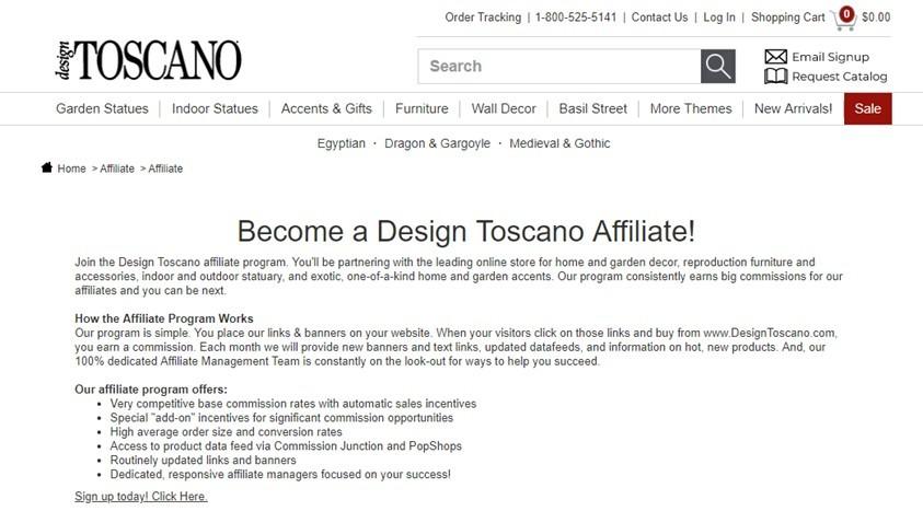 design toscano affiliate program