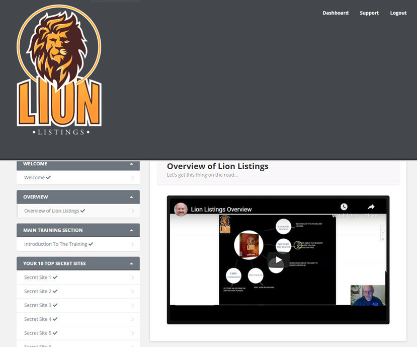 lion listings members area