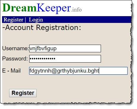 dreamkeeper.info registration