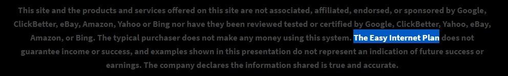 your dream websites disclaimer