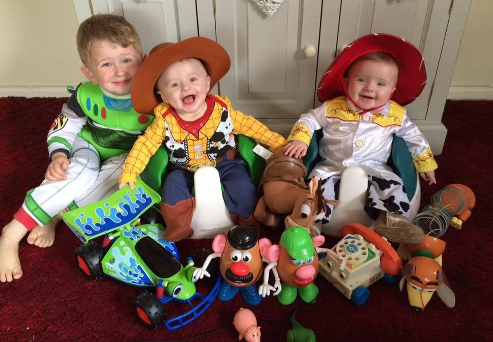 Charlie as Buzz, Oliver as Woody and Ellie as Jessie