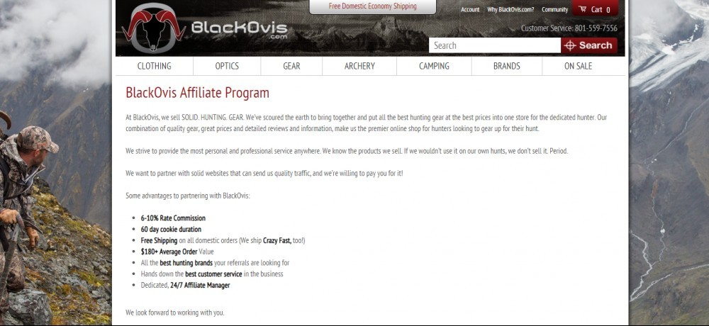 blackOvis affiliate sign up page