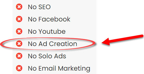 sales page graphic showing no ad creation