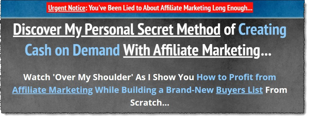 Affiliate Buyers Blueprint sales page headline