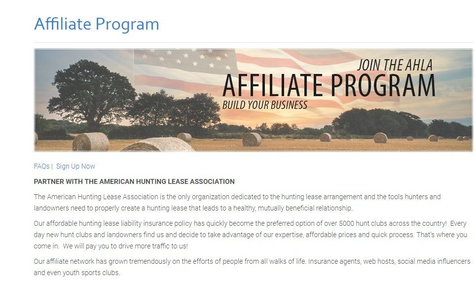american hunting lease association affiliate program