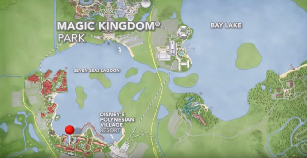 Disney park map showing the Polynesian village resort