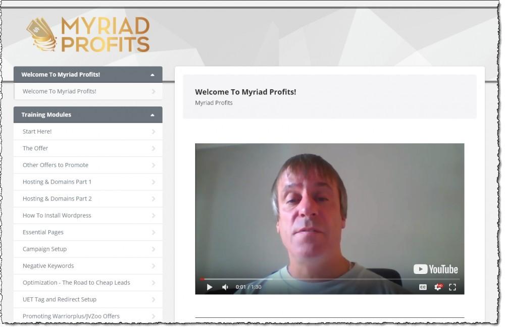 myriad profits training dashboard