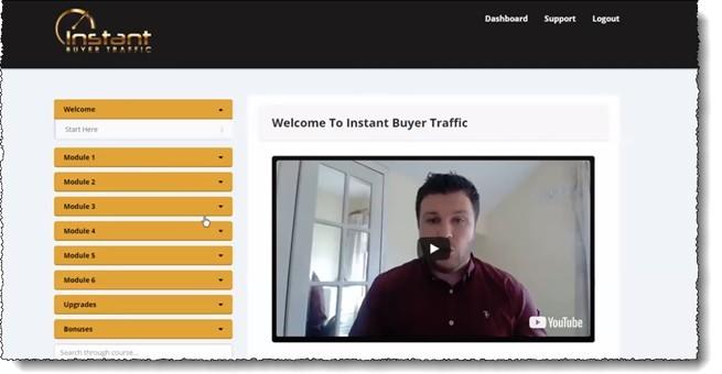instant buyer traffic training dashboard