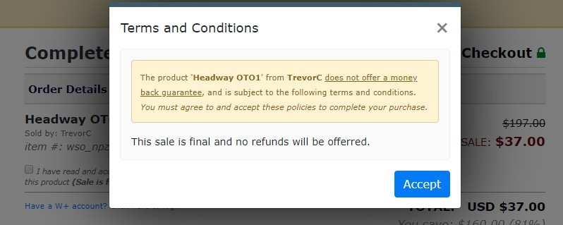 headway upsell no refunds