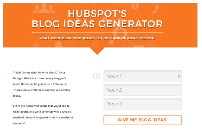 Hubspot's blog idea generator