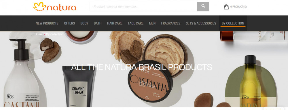Natura ^prducts with words 'All Natural Brasil products'