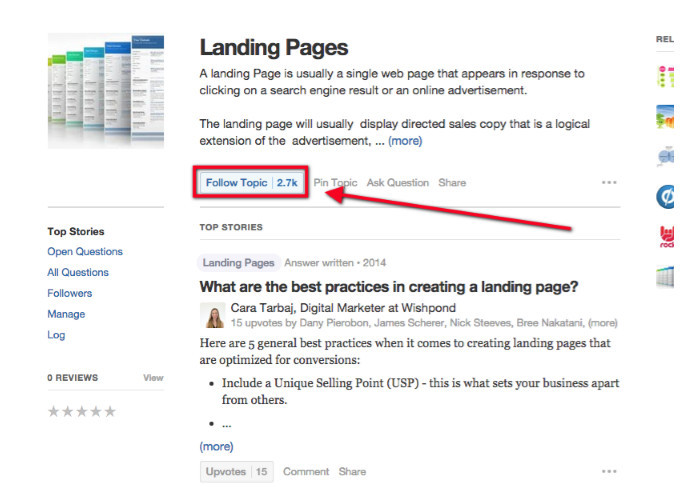 Landing pages for Follow Topic