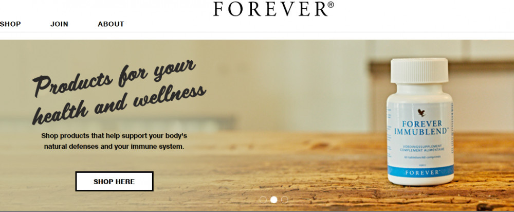 Forever Living offical website homepage of a bottle of immublend with words 'Productsfor your health and wellness'