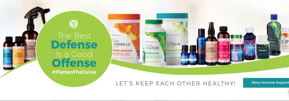 Line of Youngevity products with words 'The best defense is a Good Offense'