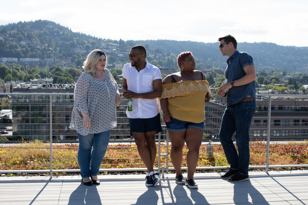 2 fat women with 2 normal size men on a hill overlooking a mountain for The Shocking Truth about Dietary Fats and Saturated Fats