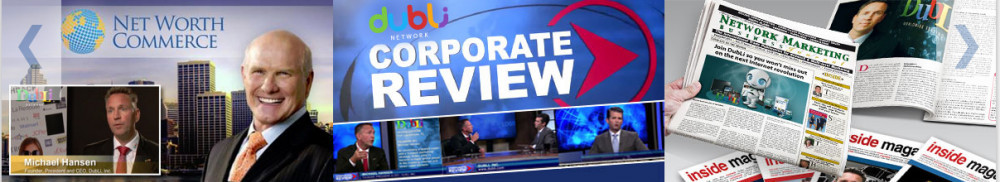 Images of smiling executives and newspapers with words 'CORPORATE REVIEW'