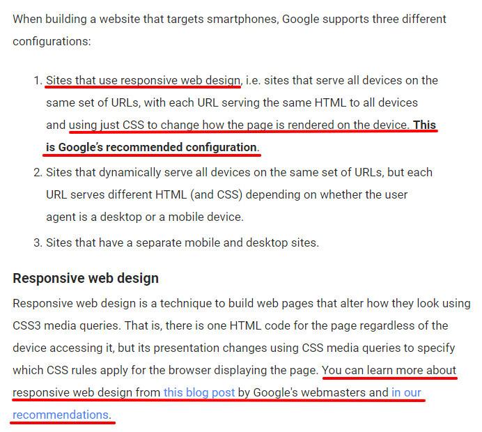 Google responsie recommendation
