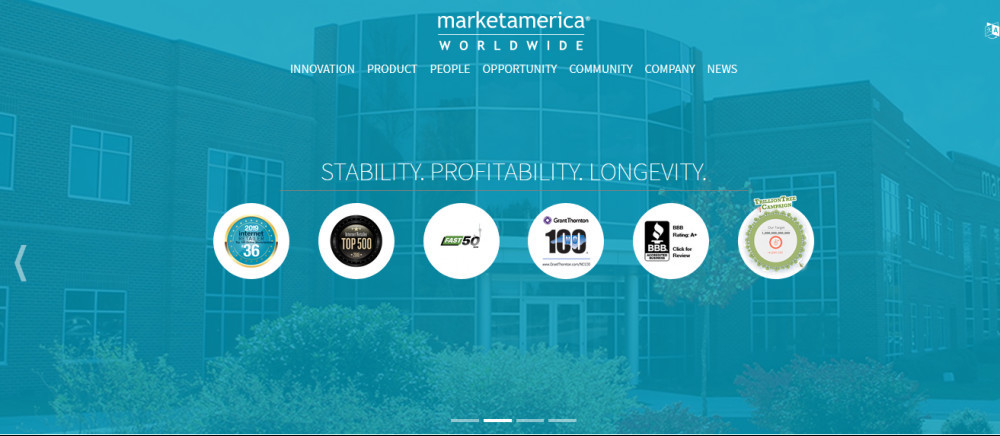 Bluish image of building with words 'Stability. Profitability. Longevity.' for Market America review