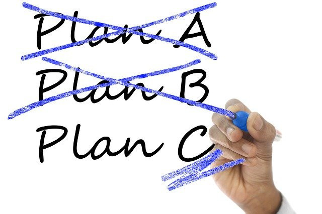 Plan A and B cancelled with a light blue marker, leaving Plan C