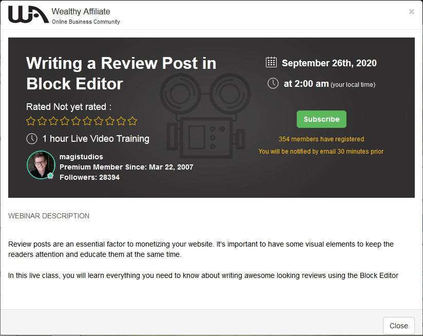 Wealthy Affiliate webinar information titles 'Writing a review post in block editor' with Jay, Magistudios