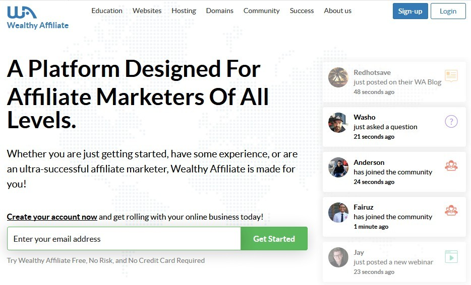 Wealthy Affiliate home page saying a platform designedfor affiliate marketers of all levels for Pictorial tour: Wealthy Affiliate training and tools