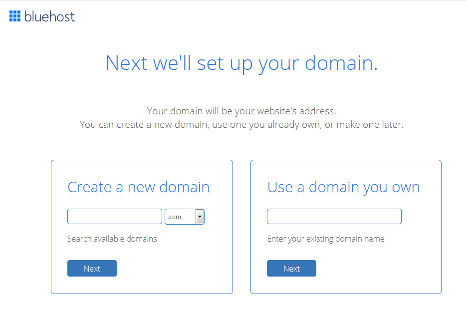 Bluehost will set up your domain
