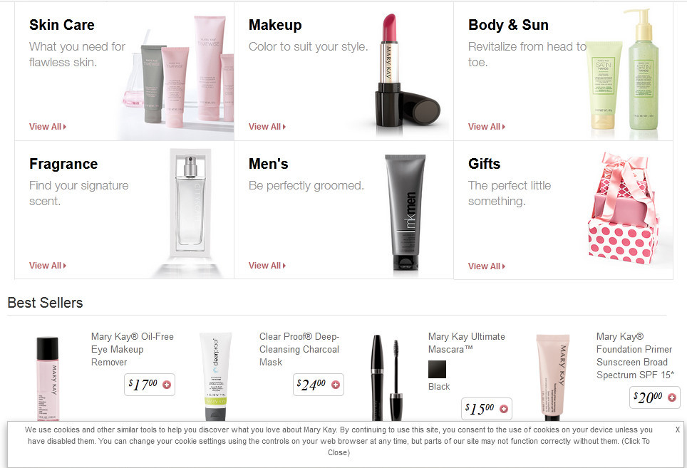 Mary Kay products showing skin care, makeup, body & sun, fragrance, men's, gifts, etc.