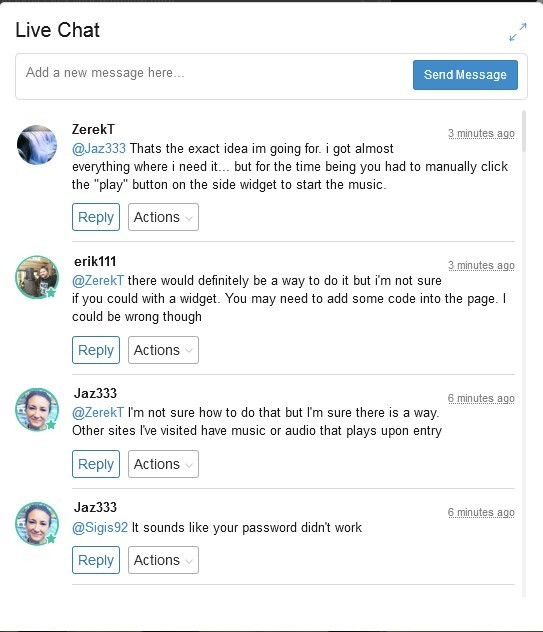 Live Chat showing some conversations