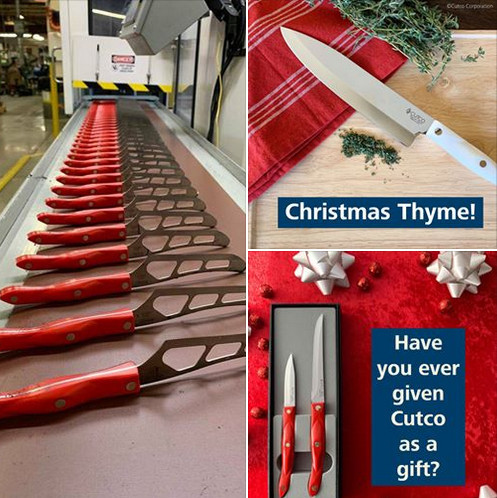 Images of cutco cutlery with words 'Christmas thyme, have you ever given Cutco as a gift' to signify 19 mlm companies we reviewed and recommended in 2019