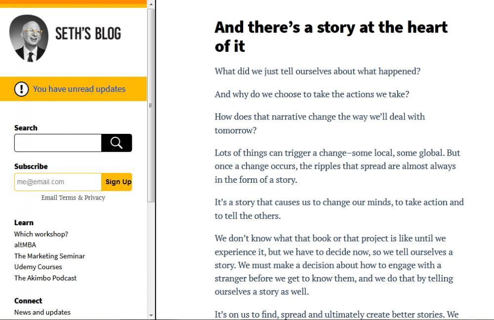 Seth Godein's blog homepage