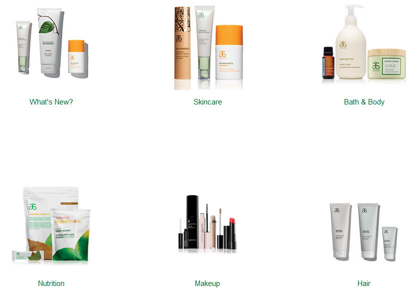 Arbonne products showing skincare, bath & soap, nutrition, makeup, and hair,