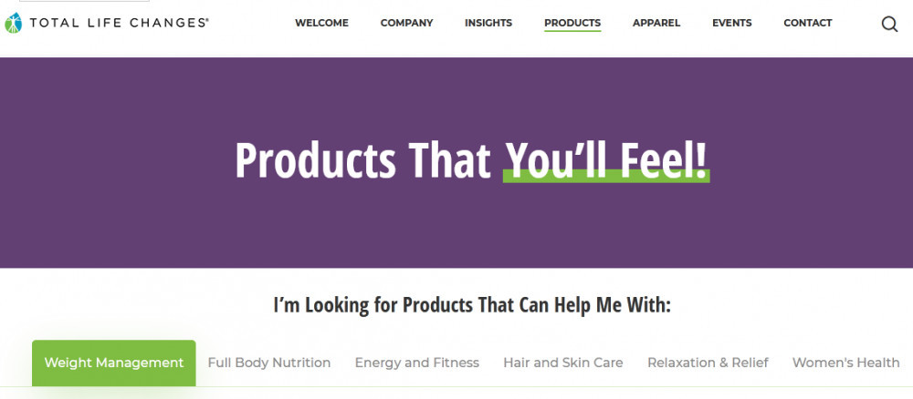 Total Life Changes products with words 'Products that you'll feel!