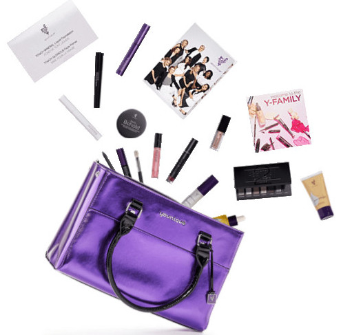 Younique women's products of violet handbag, mascaras, etc to signify 19 mlm companies we reviewed and recommended in 2019