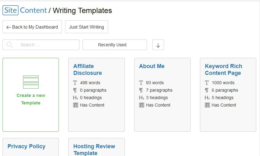 SiteContent writing templates