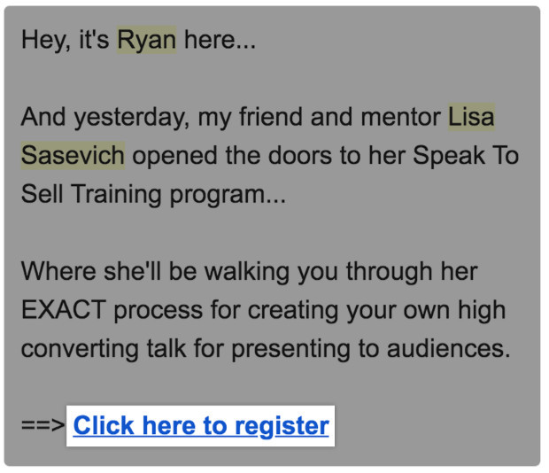 Ryan's message letting their lists know of affiliate promotions