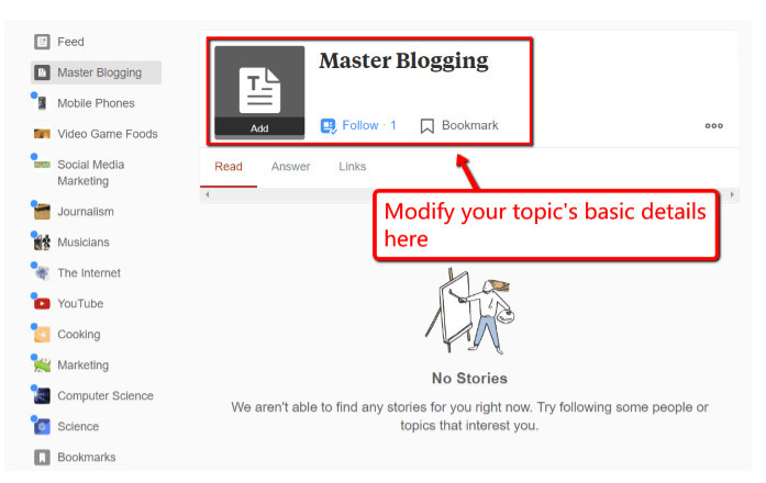 """Quora add an official topic photo, modify the name, manage topic """"aliases,"""" and merge it with existing topics."""