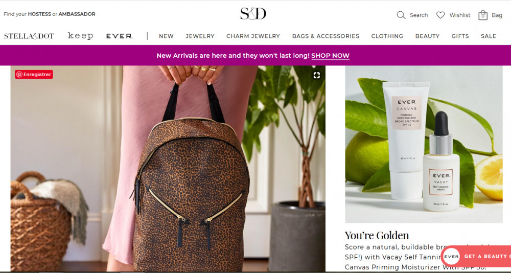 Stella & dot jewelry official website homepage showing bags, accessories, and others