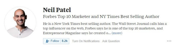 Quora Neil Patel's 50-character headline limit