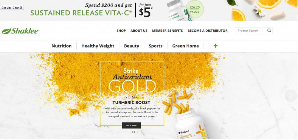 Shaklee products saying 'Strike antioxydant gold with turmeric boost'