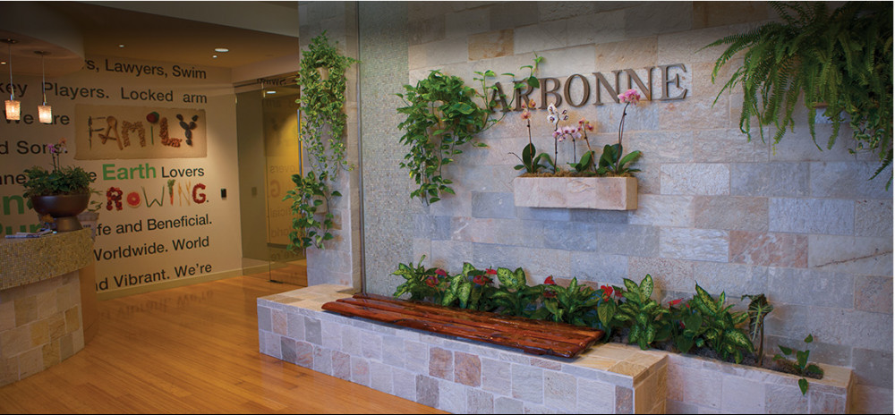 Arbonne office showing lit corridors, hanging flowers for Arbonne review