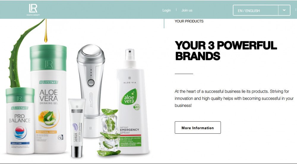 LR Health & beauty systems official website homepage image of aloe vera products and aloe vera plant