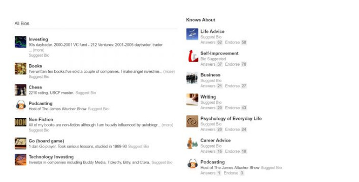 Quora Example of all bios of blogger James Altucher