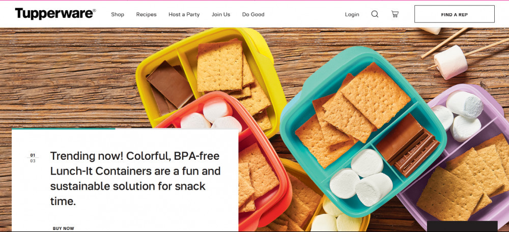Tupperware offical website homepage showing Tupperwarecontainers holding snacks and words 'Trending now! Colorful, BPA-free Luch-it containers are a fun and sustainable solution for snack time'