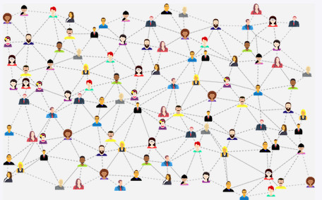 People linked to each other to signify relationships