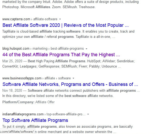 Google Search Engine Results Pages for search term 'best software affiliate programs'