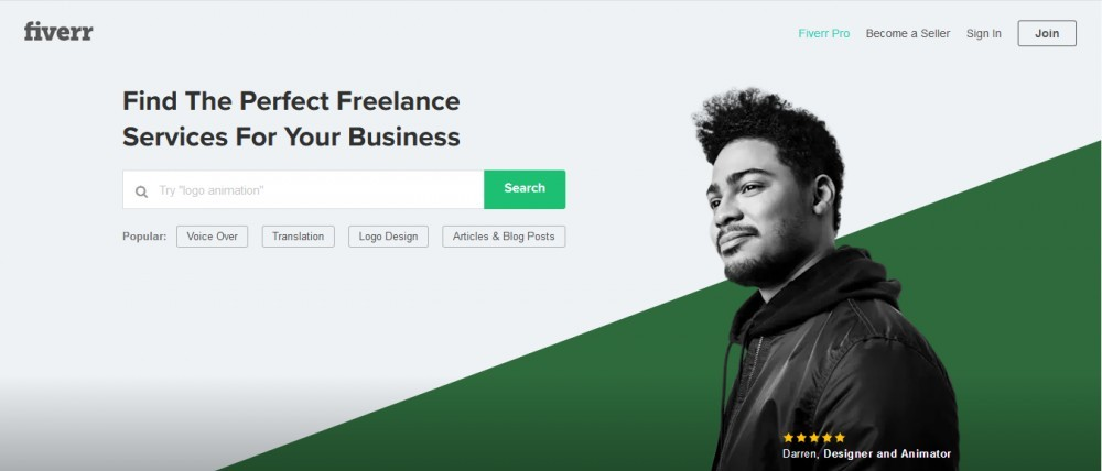 Fiverr home page to signify Sell Your Service at Fiverr and Earn Online