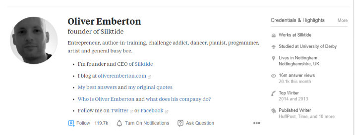 Quora Bio of Oliver Emberton, one of Quora's top writers