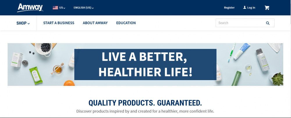 Amway offical website homepage with words 'Live a better, healtheir life!'