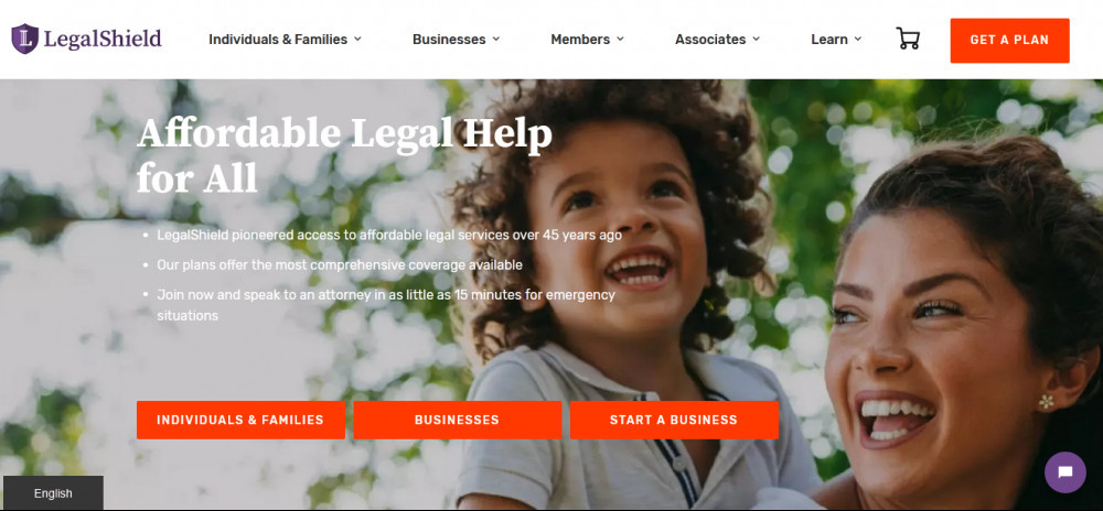 Legalshield official website homepage showing a smiling woman with a baby girl and words 'Affordable legal help for all'