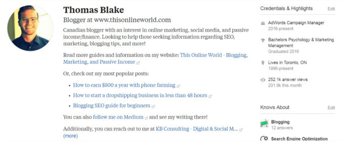how Thomas Blake has set up his Quora profile